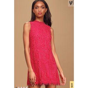 Lulu's Blooming Brightly Fuschia Lace Dress